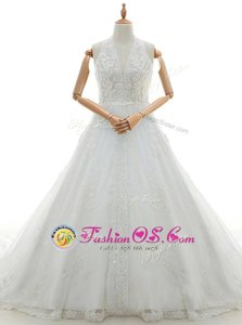 Stunning White Ball Gowns Lace and Appliques Wedding Dress Lace Up Lace Sleeveless With Train