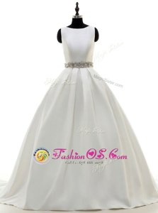 Inexpensive Scoop White Sleeveless With Train Beading Zipper Bridal Gown