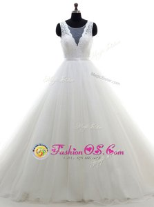 Sophisticated Scoop Sleeveless Brush Train Clasp Handle With Train Lace Wedding Gown