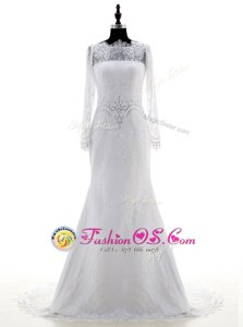 Inexpensive Long Sleeves Lace With Brush Train Zipper Wedding Dress in White for with Appliques