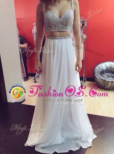 Fantastic Sleeveless Zipper Floor Length Sequins Prom Evening Gown