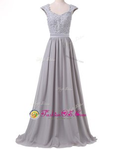 High Class Pleated Scoop Cap Sleeves Lace Up Dress Like A Star Grey Chiffon