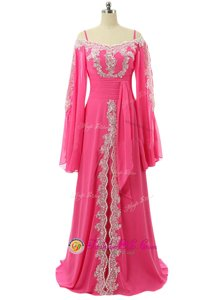 Hot Pink A-line Chiffon Spaghetti Straps Long Sleeves Lace and Sequins Zipper Sweep Train