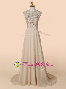 Shining Scoop Backless Chiffon Sleeveless With Brush Train and Beading