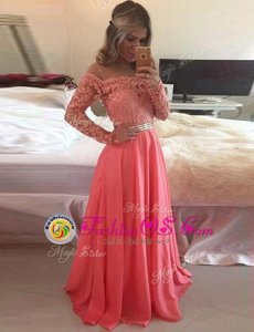 Watermelon Red A-line Scoop Long Sleeves Chiffon Floor Length Zipper Beading and Appliques Prom Party Dress
