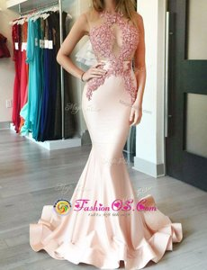 Mermaid Halter Top Peach Sleeveless With Train Appliques Zipper Red Carpet Prom Dress