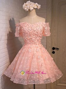 Dramatic Peach A-line Off The Shoulder Sleeveless Lace Mini Length Lace Up Appliques Prom Dress