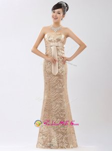Strapless Sleeveless Homecoming Dress Floor Length Appliques and Belt Champagne Sequined