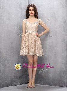 Lace Straps Sleeveless Backless Beading Homecoming Dress in Champagne