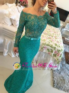 Noble Mermaid Backless Lace Green Long Sleeves Beading Floor Length Dress for Prom