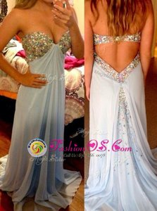 Pretty Beading Prom Gown Light Blue Backless Sleeveless Brush Train