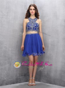 Scoop Beading Dress for Prom Royal Blue Criss Cross Sleeveless Knee Length