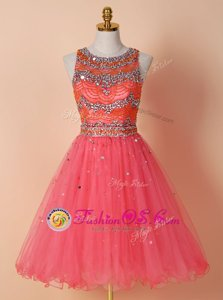 Watermelon Red Tulle Zipper Scoop Sleeveless Knee Length Beading