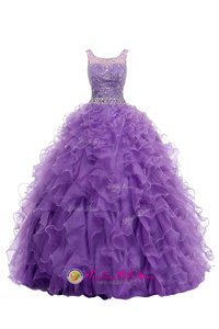 Delicate Purple Zipper Straps Beading and Belt Prom Evening Gown Organza Sleeveless Sweep Train