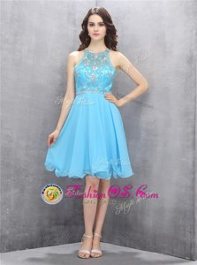 High Class Scoop Blue Chiffon Criss Cross Prom Party Dress Sleeveless Knee Length Beading