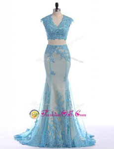 Mermaid Blue Zipper Dress for Prom Lace Sleeveless With Brush Train
