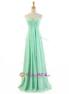 Apple Green Zipper Prom Dress Ruffles Sleeveless Floor Length