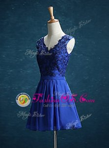 Pretty Chiffon V-neck Sleeveless Zipper Appliques Prom Evening Gown in Royal Blue