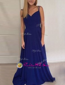 Colorful Royal Blue Scoop Neckline Ruching Prom Dress Sleeveless Backless