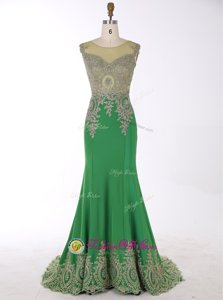 Mermaid Scoop Sleeveless Beading and Appliques Zipper with Green Brush Train
