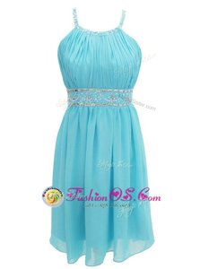 Stunning Halter Top Sleeveless Criss Cross Prom Dress Aqua Blue Chiffon