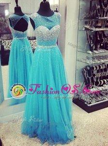 Mermaid Aqua Blue Dress for Prom High-neck Sleeveless Sweep Train Zipper