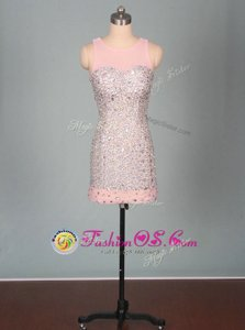 Wonderful Scoop Sleeveless Mini Length Beading Zipper Prom Dress with Pink