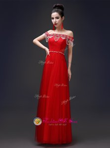 Floor Length Red Prom Evening Gown Strapless Sleeveless Lace Up