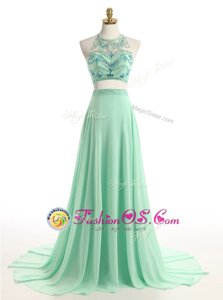 Perfect Halter Top Sleeveless Chiffon Brush Train Zipper Prom Gown in Apple Green for with Beading