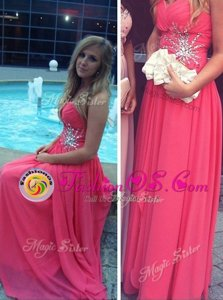 Amazing Backless Hot Pink Sleeveless Beading Floor Length Dress for Prom