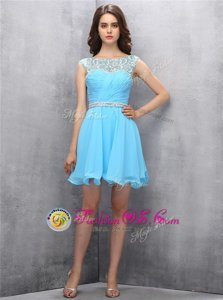 Discount Scoop Baby Blue Zipper Homecoming Dress Beading Sleeveless Knee Length