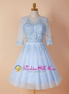 Fantastic Scoop Backless Knee Length Light Blue Prom Dresses Organza Half Sleeves Appliques