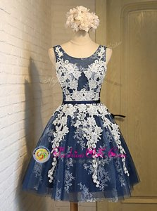 Best Selling Knee Length Navy Blue Prom Gown Scoop Sleeveless Lace Up