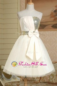 Fancy Champagne Lace Up Strapless Sequins and Bowknot Dress for Prom Satin Sleeveless