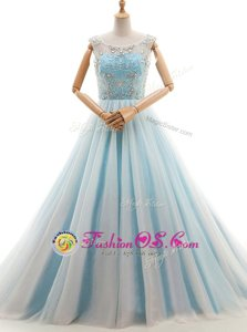 Unique Scoop Sleeveless Prom Party Dress With Train Court Train Beading Light Blue Tulle