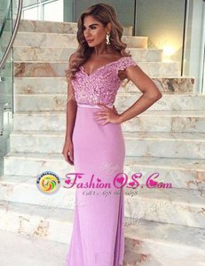 Modern Off the Shoulder Mermaid Short Sleeves Lilac Prom Party Dress Brush Train Zipper