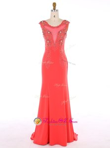 Popular Mermaid Scoop Watermelon Red Sleeveless Brush Train Beading Prom Party Dress