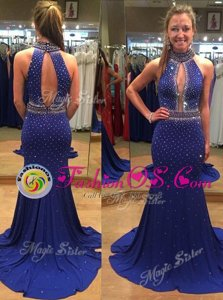 Gorgeous Mermaid Black Prom Dresses Prom and Party and For with Lace Scoop Sleeveless Brush Train Zipper