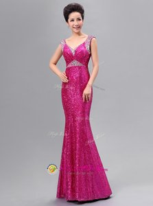 Fuchsia Mermaid V-neck Sleeveless Sequined Floor Length Zipper Sequins Dress for Prom