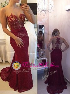Popular Mermaid Scoop Sleeveless Chiffon With Train Court Train Zipper Celebrity Prom Dress in Burgundy for with Beading and Appliques and Bowknot