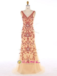 Mermaid Chiffon Sleeveless With Train Sweep Train and Beading and Embroidery