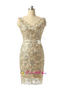 Graceful Champagne V-neck Neckline Beading and Lace Dress for Prom Sleeveless Zipper