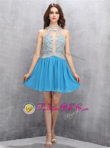 Clearance Beading Homecoming Dress Royal Blue Backless Sleeveless Mini Length