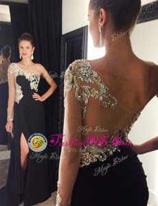 Mermaid One Shoulder Chiffon Long Sleeves With Train Prom Party Dress Sweep Train and Beading