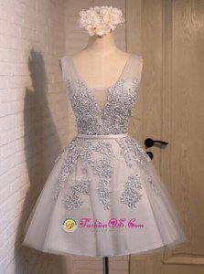 Grey Lace Up Dress for Prom Beading and Appliques Sleeveless Mini Length