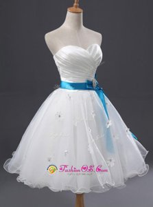 Sweetheart Sleeveless Organza Prom Dresses Appliques and Sashes|ribbons and Ruching Lace Up