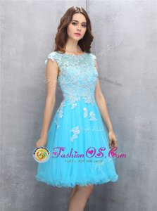 Captivating Scoop Blue Cap Sleeves Organza Zipper for Prom