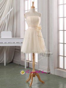 Strapless Sleeveless Tulle Prom Gown Belt and Hand Made Flower Zipper