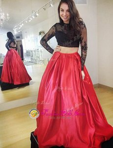 Smart Satin High-neck Long Sleeves Backless Lace Prom Evening Gown in Red