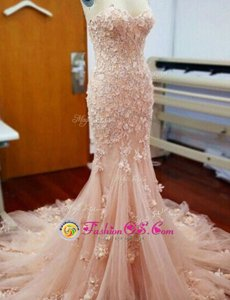 Mermaid Baby Pink Sweetheart Zipper Appliques Prom Party Dress Chapel Train Sleeveless